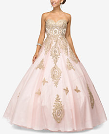 Dancing Queen Juniors' Rhinestone Appliqué Gown