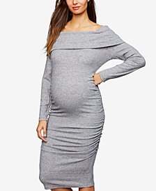 RIPE Maternity Off-The-Shoulder Ruched Dress