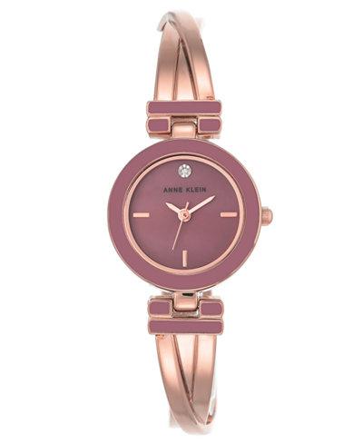 Anne Klein Women's Diamond-Accent Rose Gold-Tone Bangle Bracelet Watch 24mm
