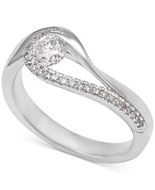 Diamond Asymmetric Engagement Ring (1/2 ct. t.w.) in 14k White Gold