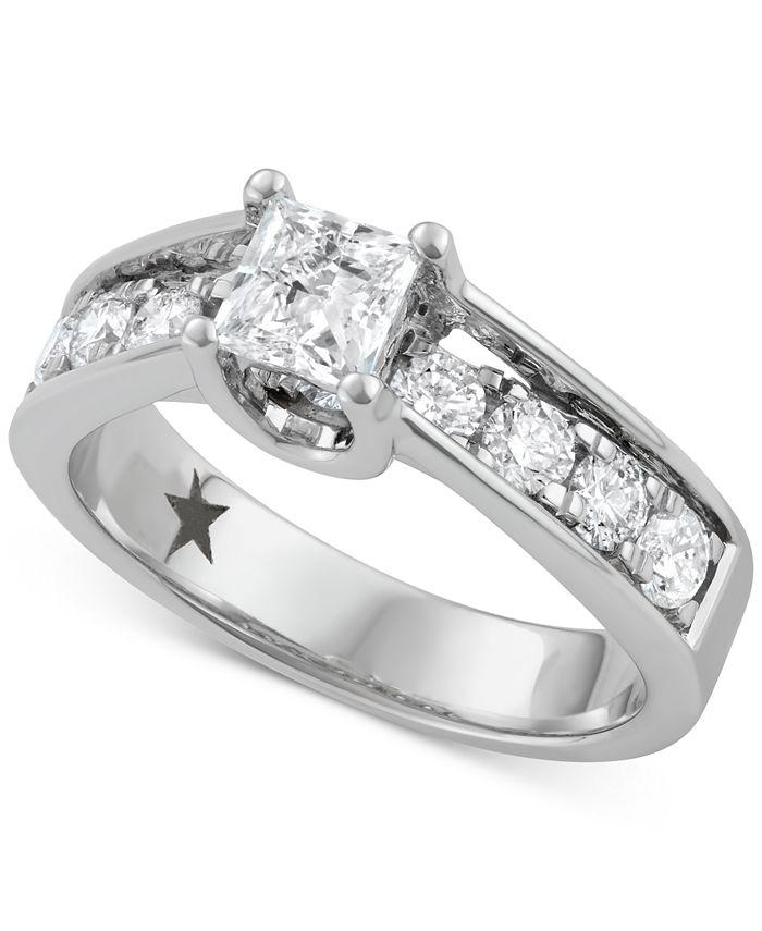Macy's Star Signature Diamond - ™ Engagement Ring (1-1/2 ct. t.w.) in 14k White Gold