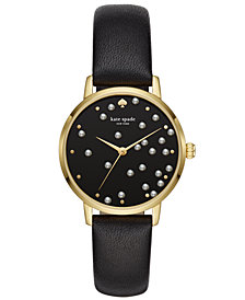 kate spade new york Women's Metro Black Leather Strap Watch 34mm KSW1395