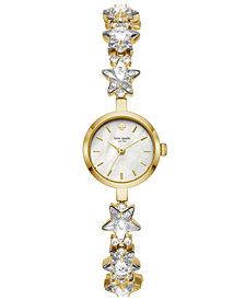 kate spade new york Women's Gold-Tone Stainless Steel & Pavé Star Chain Bracelet Watch 20mm