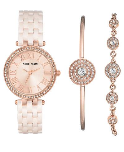 Anne Klein Women's Light Rose Ceramic Bracelet Watch 30mm Gift Set