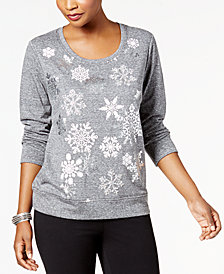Style & Co Petite Snowflake-Embellished Sweatshirt, Created for Macy's
