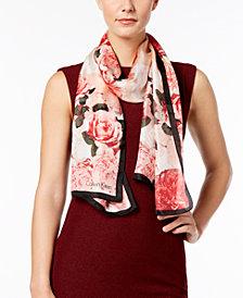 Calvin Klein Floral-Print Silk Scarf