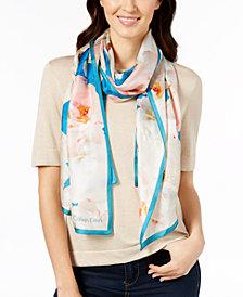 Calvin Klein Pastel Floral Silk Scarf