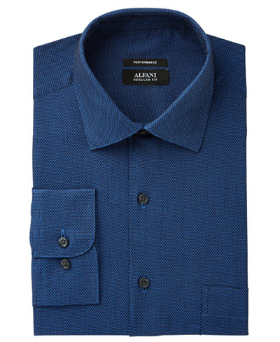 Alfani Men's Classic/Regular Fit Performance Stretch Easy-Care Honeycomb Texture Dress Shirt, Created for Macy's