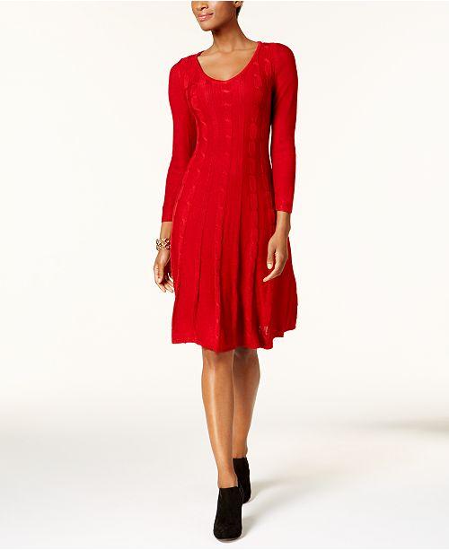 b4af13918c3 Nine West Cable-Knit Sweater Dress   Reviews - Dresses - Women ...