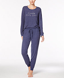 Jenni by Jennifer Moore Graphic-Print Pajama Top & Jogger Pants Sleep Separates, Created for Macy's