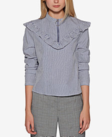 Avec Les Filles Cotton Striped Zip-Front Ruffle Top