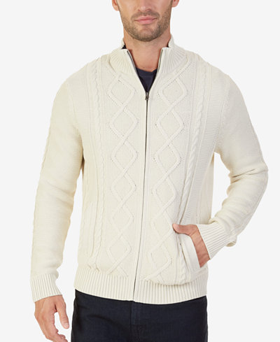 Nautica Men's Full-Zip Cable-Knit Cardigan - Sweaters - Men - Macy's
