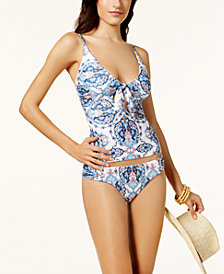 Becca Naples Printed Tie-Front Tankini Top & Reversible Hipster Bikini Bottoms