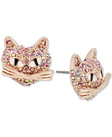 Rose Gold-Tone Pink Pavé Cat Stud Earrings