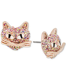 Betsey Johnson Rose Gold-Tone Pink Pavé Cat Stud Earrings