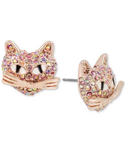 Betsey Johnson Rose Gold-Tone Pink Pavé Cat Stud Earrings