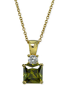 Giani Bernini Cubic Zirconia Square Pendant Necklace in 18k Gold-Plated Sterling Silver, Created for Macy's