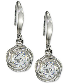 Giani Bernini Cubic Zirconia Love Knot Drop Earrings in Sterling Silver, Created for Macy's