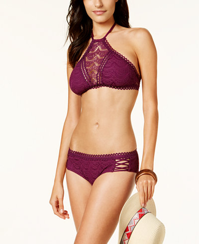 Becca Color Play Lace-Inset High-Neck Bikini Top & Hipster Bottoms