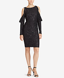 Lauren Ralph Lauren Sequined Cutout-Shoulder Dress