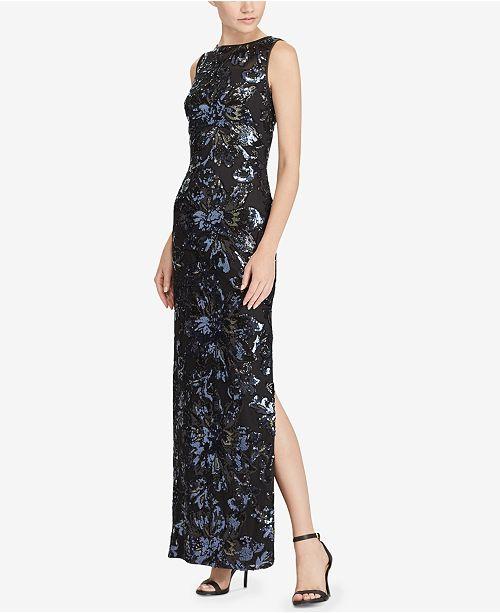 dcde4ac9d28 Lauren Ralph Lauren Sequined Floral Mesh Gown   Reviews - Dresses ...