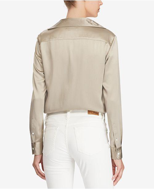 65b4a89c69 Polo Ralph Lauren Silk Charmeuse Shirt   Reviews - Tops - Women - Macy s