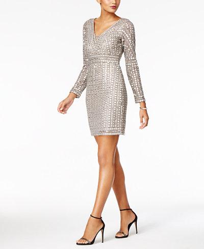 Adrianna Papell Beaded V-Neck Sheath Dress
