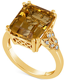 Citrine (5-1/2 ct. t.w.) & Diamond (1/10 ct. t.w.) Ring in 14k Gold