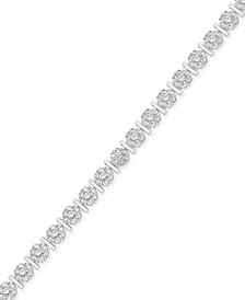 Diamond Accent Flower Link Bracelet in Silver-Plate