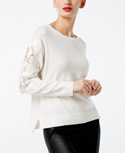 I.N.C. Embellished Sequin-Sleeve Sweater, Created for Macy's
