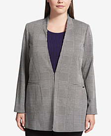 Calvin Klein Plus Size Glen Plaid Jacket