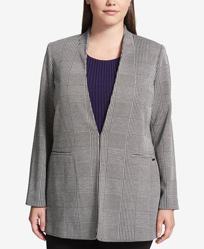 Calvin Klein Plus Size Glen Plaid Jacket
