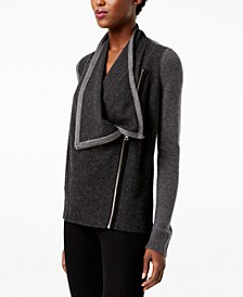 INC Waffled Zip Completer Sweater, Created for Macy's