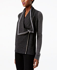 I.N.C. Waffled Zip Completer Sweater, Created for Macy's