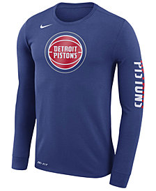 Nike Men's Detroit Pistons Dri-FIT Cotton Logo Long Sleeve T-Shirt
