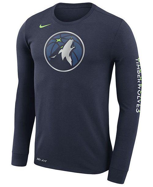 ... Nike Men s Minnesota Timberwolves Dri-FIT Cotton Logo Long Sleeve T- ... 7da2f50ef
