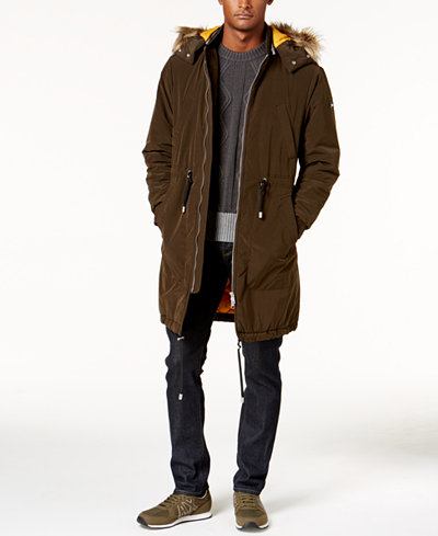 Armani Exchange Men's Anorak Jacket With Faux Fur-Trimmed Hood ...