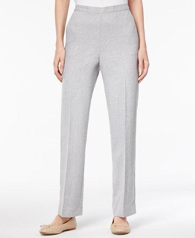 Alfred Dunner Petite Birdseye Tweed Pull-On Pants