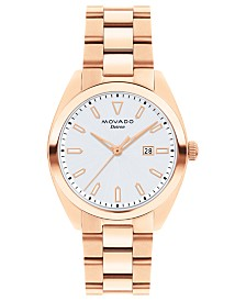 Movado Women's Swiss Heritage Series Datron Rose Gold-Tone Stainless Steel Bracelet Watch 31mm