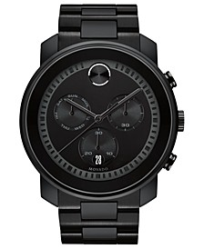 Men's Swiss Chronograph BOLD Black Stainless Steel Bracelet Watch 48mm