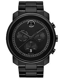 Movado Men's Swiss Chronograph BOLD Black Stainless Steel Bracelet Watch 48mm
