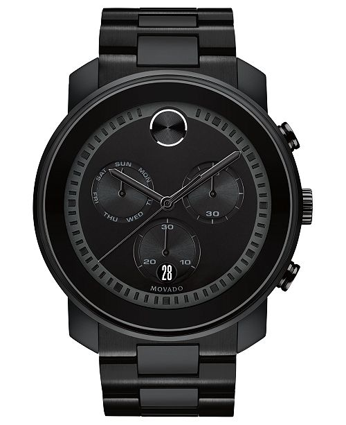 2ec7038a6 ... Movado Men's Swiss Chronograph BOLD Black Stainless Steel Bracelet Watch  ...