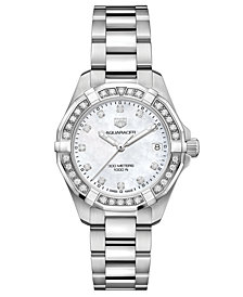 TAG Heuer Women's Swiss Aquaracer Diamond (3/4 ct. t.w.) Stainless Steel Bracelet Watch 32mm