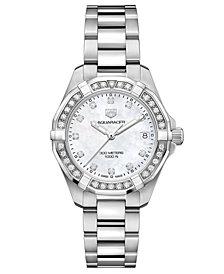 TAG Heuer Women's Swiss Aquaracer Diamond (3/4 ct. t.w.) Stainless Steel Bracelet Watch 32mm