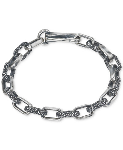 Esquire Men's Jewelry Textured Link Bracelet in Sterling Silver, Created for Macy's