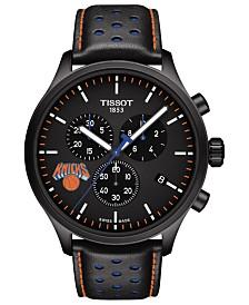 Tissot Men's Swiss Chronograph Chrono XL NBA New York Knicks Black Leather Strap Watch 45mm