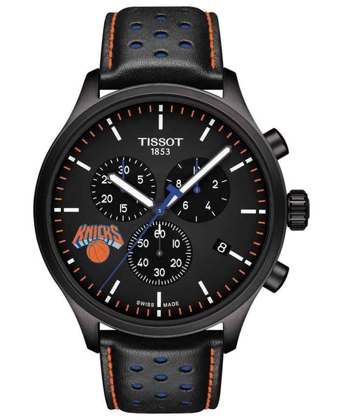 Tissot - Men's Swiss Chonograph Chrono XL NBA New York Knicks Black Leather Strap Watch 45mm