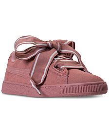 Puma Women's Suede Heart Satin Casual Sneakers from Finish Line