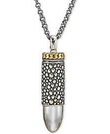Esquire Men's Jewelry Textured Bullet Pendant Necklace in Sterling Silver & 14k Gold, Created for Macy's