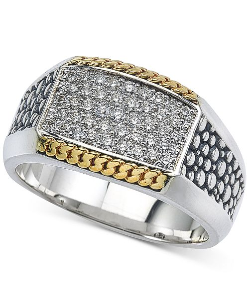 Esquire Men's Jewelry Two-Tone Textured Diamond Ring (1/2 ct. t.w.) in Sterling Silver & 14k Gold, Created for Macy's